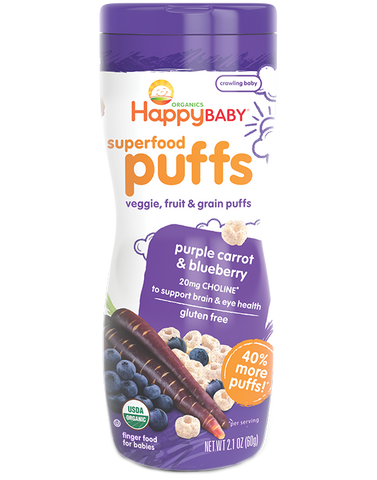 Happy Baby Organic Puffs Purple Carrot & Blueberry -- 2.1 oz