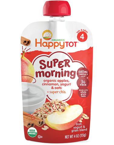 Happy Baby Happytot Organic Superfoods Morning Breakfast Blend Apple Cinnamon Yogurt & Oats -- 4 oz