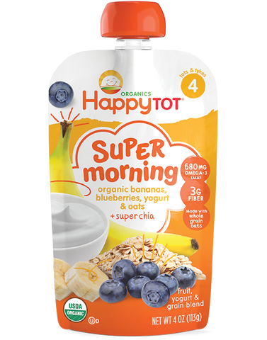Happy Baby Happytot Organic Superfoods Morning Breakfast Blend Banana Blueberry Yogurt & Oats -- 4 oz