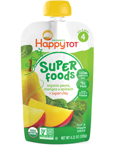 Happy Baby HappyTot Organic Superfoods Spinach Mango and Pear -- 4.22 oz
