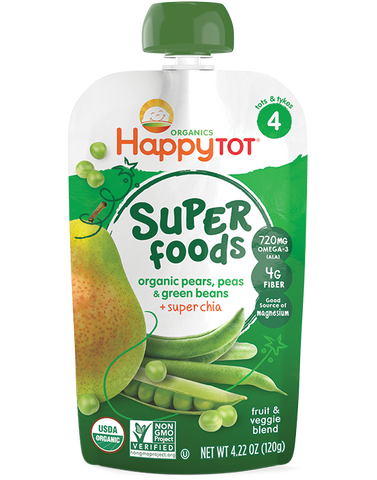 Happy Baby HappyTot Organic Superfoods Green Bean Pear and Pea -- 4.22 oz