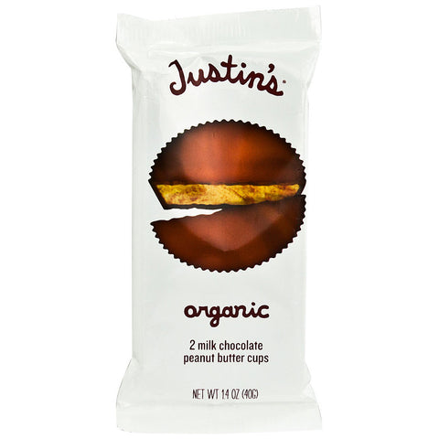 Justin's Organic Peanut Butter Cups Milk Chocolate -- 1.4 oz