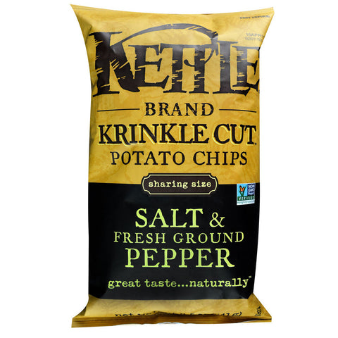 Kettle Foods Krinkle Cut Potato Chips Salt & Fresh Ground Pepper -- 8.5 oz