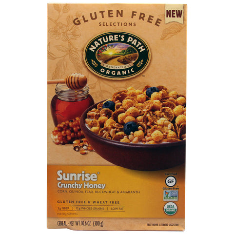 Nature's Path Organic Sunrise Cereal Gluten Free Crunchy Honey -- 10.6 oz