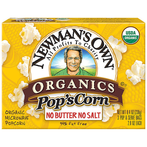 Newman's Own Organics Pop's Corn Unsalted -- 3 Bags