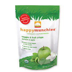 Happy Baby Happy Munchies Organic Superfoods Veggie & Fruit Crisps Spinach and Apple -- 1 oz
