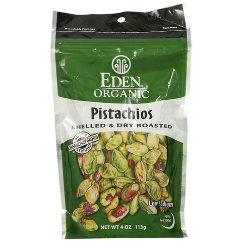 Eden Foods Organic Pistachios Shelled and Dry Roasted -- 4 oz