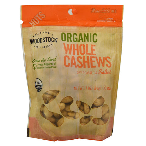 Woodstock Organic Whole Cashews -- 7 oz