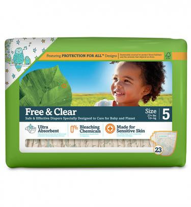 Seventh Generation Free and Clear Baby Diapers Size 5 (27lbs +) 115 Count