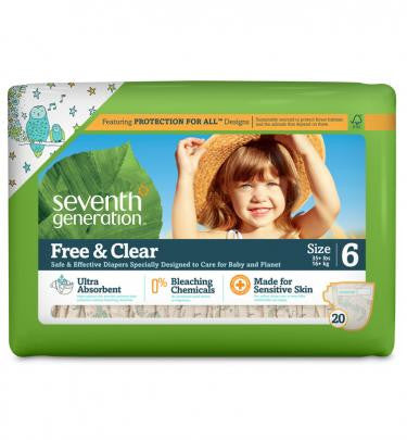 Seventh Generation Free and Clear Baby Diapers Size 6 (35lbs +) 100 Count