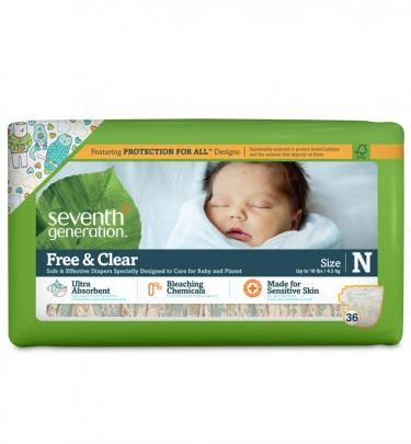 Seventh Generation Free and Clear Baby Diapers Newborn (up to 10lbs) 144 Count