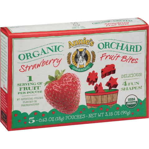 Annie's Homegrown Organic Orchard Fruit Bites Strawberry -- 5 Pouches