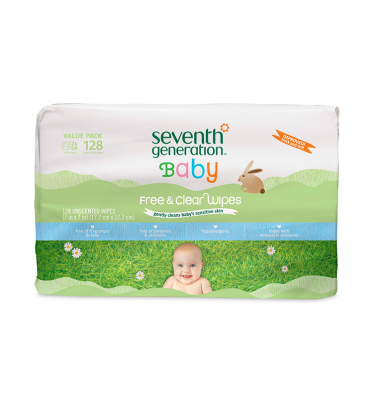 Seventh Generation Thick & Strong Free and Clear Baby Wipes: 384 wipes (6 packages of 64 wipes)