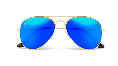 Jetsetter Aviator - MIAMI - Gold / Blue Mirror 58mm - Dicks Cottons Sunglasses  - 5