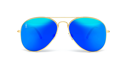 Jetsetter Aviator - MIAMI - Gold / Blue Mirror 58mm - Dicks Cottons Sunglasses  - 1