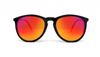 Velvet Sunglasses - Circular Keyhole - Black / Orange Mirror