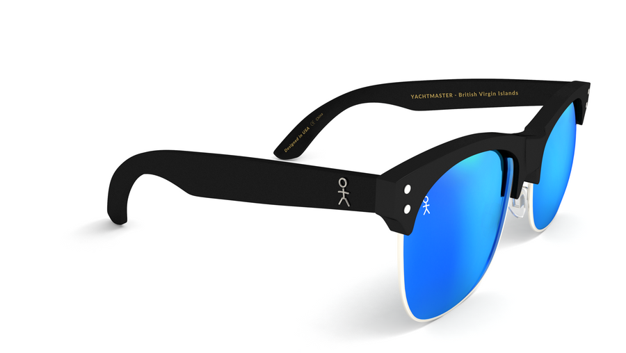 Yachtmaster - BVI - Matte Black with Blue Mirrored Lens - Dicks Cottons Sunglasses  - 1
