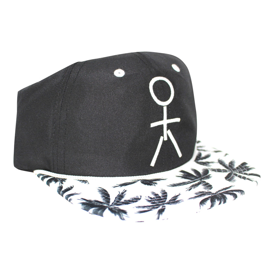 Stickman Snapback Hat (Nylon) - Black / White / Palm Tree Brim - Dicks Cottons Sunglasses  - 1