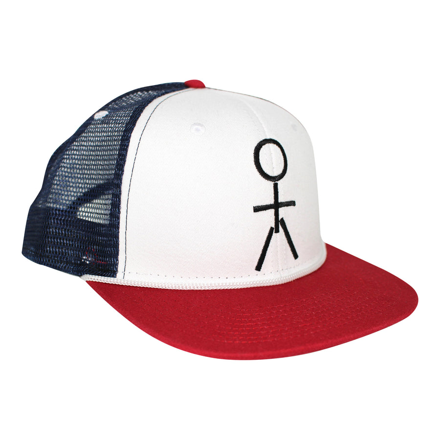 KIDS HAT - Stickman Trucker Hat - Red / White / Blue - Dicks Cottons Sunglasses  - 1