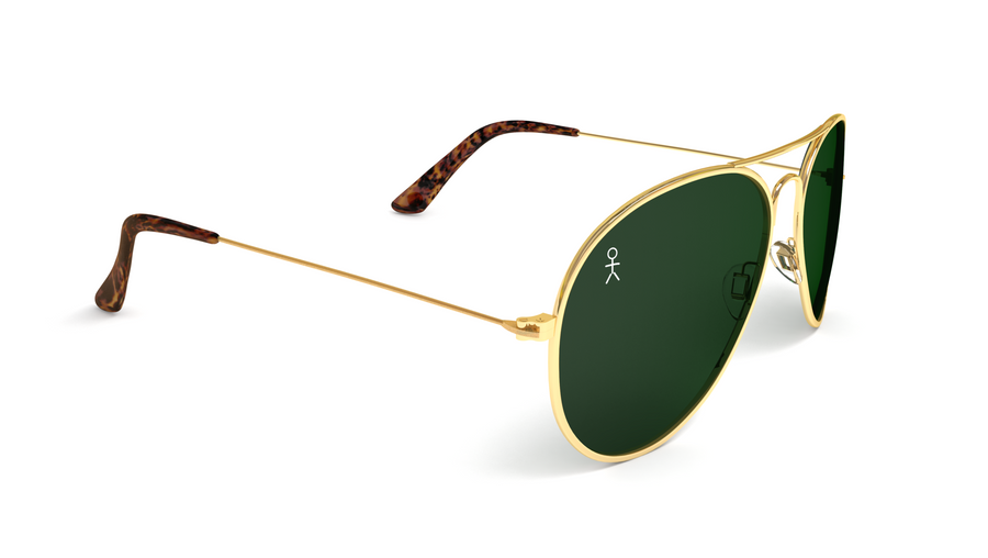 Jetsetter Aviator - Los Angeles - Gold / Dark Green 58mm - Dicks Cottons Sunglasses  - 1