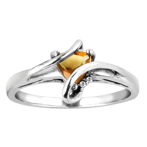Silver Diamond And Citrine Ring