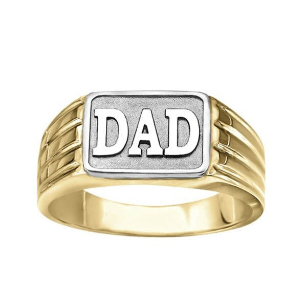 "MENS 10KT TWO TONE ""DAD"" RING RIN-MGO-0130"