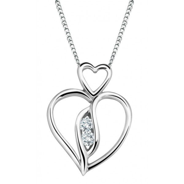 WHITE GOLD DIAMOND HEART PENDANT PEN-DIA-2259