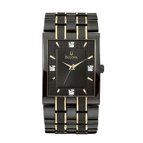Bulova Men's Black And Gold Tone Watch