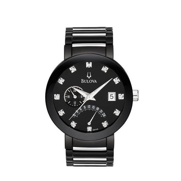 Bulova Men's Diamond And Black Bracelet Watch