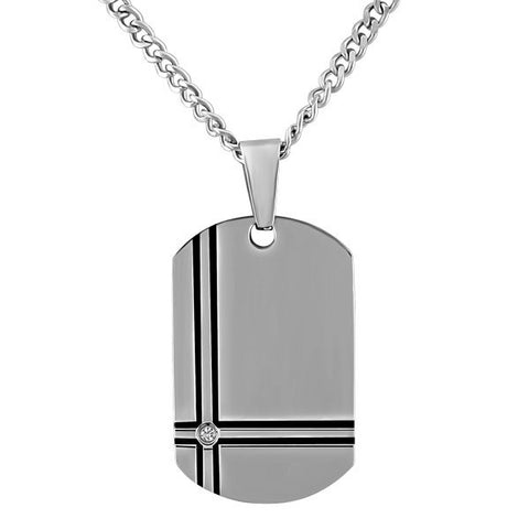 STAINLESS STEEL AND CZ DOG TAG PENDANT