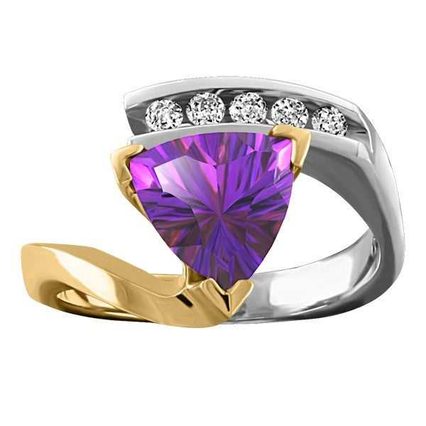 TWO-TONE DIAMOND AND AMETHYST RING