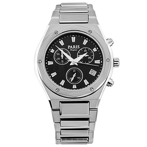 MENS PARIS TIMEPIECE SILVER TONE TUNGSTEN CHRONOGRAPH WATCH WAT-MBA-0074