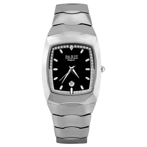 MENS PARIS TIMEPIECE SILVER TONE TUNGSTEN AND DIAMOND WATCH WAT-MBA-0047