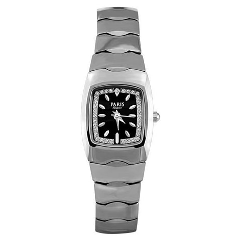 LADIES PARIS TIMEPIECE SILVER TONE TUNGSTEN AND DIAMOND WATCH WAT-LBA-0042