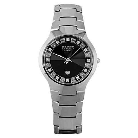 MENS PARIS TIMEPIECE SILVER TONE TUNGSTEN BLACK DIAL WATCH WAT-MBA-0048
