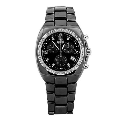 MENS PARIS TIMEPIECE BLACK CERAMIC CHRONOGRAPH WATCH WAT-MBA-0010