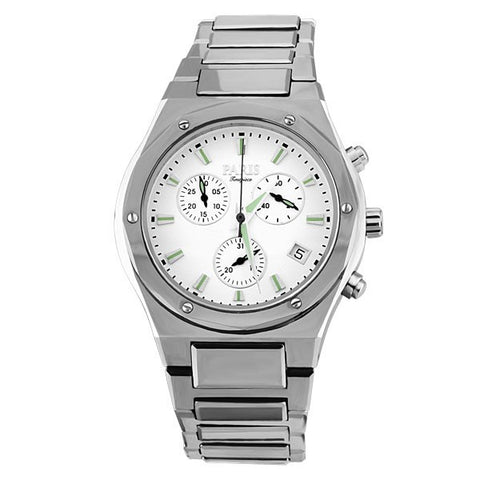 MENS PARIS TIMEPIECE SILVER TONE TUNGSTEN CHRONOGRAPH WATCH WAT-MBA-0073