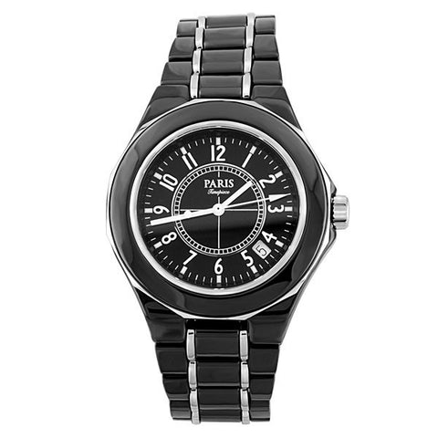 MENS PARIS TIMEPIECE BLACK AND SILVER CERAMIC WATCH WAT-MBA-0075