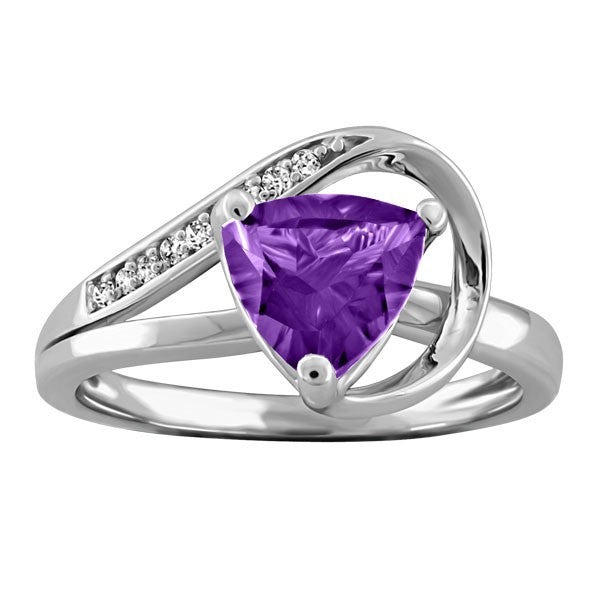 WHITE GOLD DIAMOND AND AMETHYST RING RIN-LGM-2416
