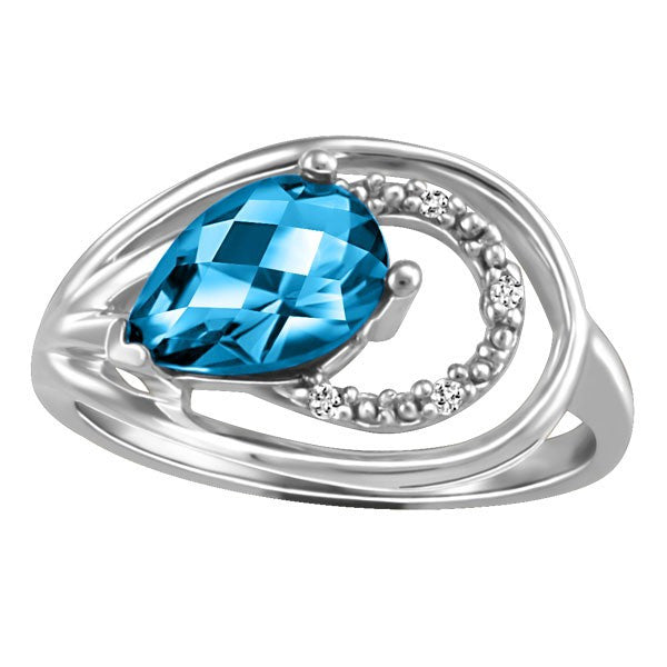WHITE GOLD DIAMOND AND BLUE TOPAZ RING RIN-LGM-2420