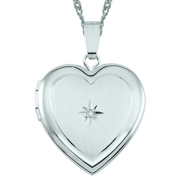 WHITE GOLD DIAMOND HEART LOCKET LOC-GLD-0010