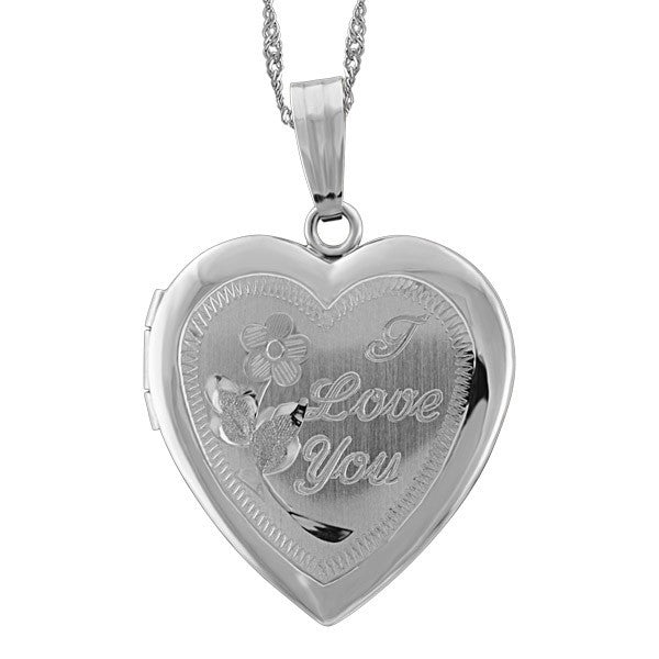 WHITE G OLD HEART LOCKET LOC-GLD-0011