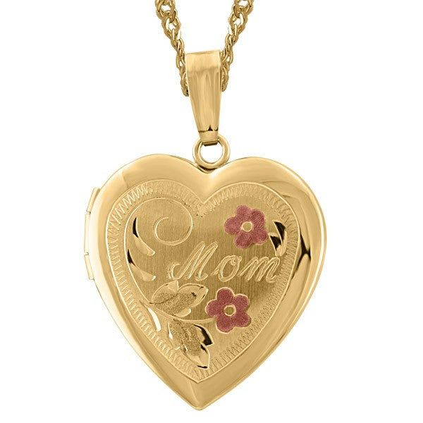 "YELLOW GOLD ""MOM"" HEART LOCKET LOC-GLD-0013"