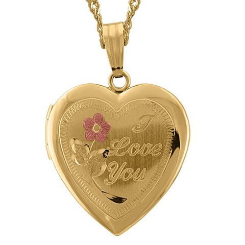 "YELLOW GOLD ""I LOVE YOU"" HEART LOCKET LOC-GLD-0014"