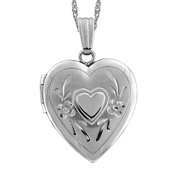 WHITE GOLD HEART LOCKET LOC-GLD-0023