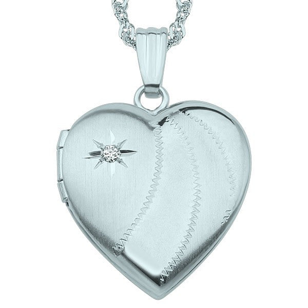 WHITE GOLD DIAMOND HEART LOCKET LOC-GLD-0079