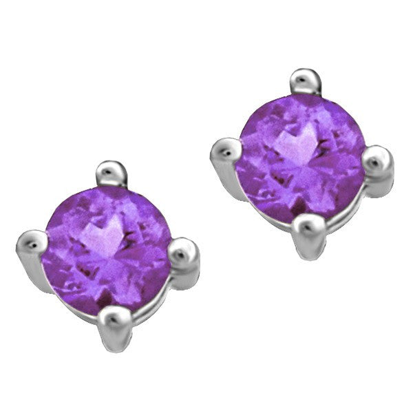WHITE GOLD AMETHYST STUD EARRINGS EAR-BIR-0012