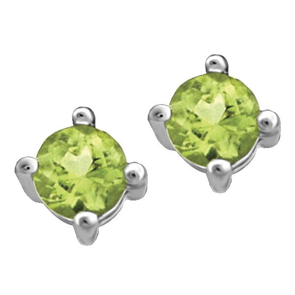 WHITE GOLD PERIDOT STUD EARRINGS EAR-BIR-0016
