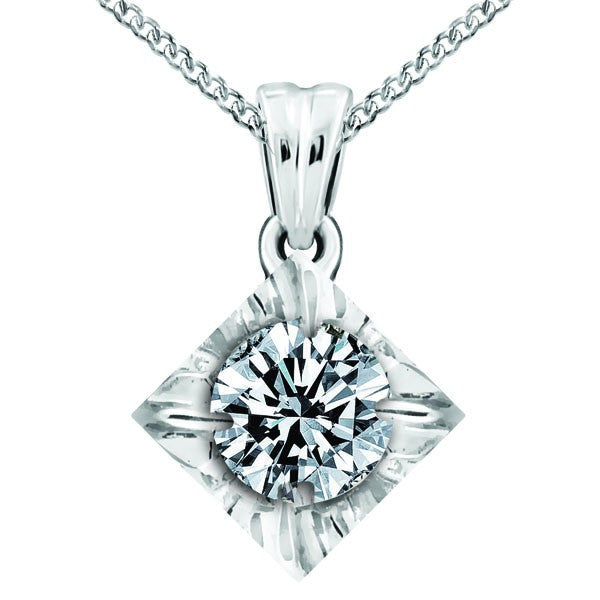 WHITE GOLD 0.15 CTW CANADIAN DIAMOND PENDANT PEN-CAN-0442