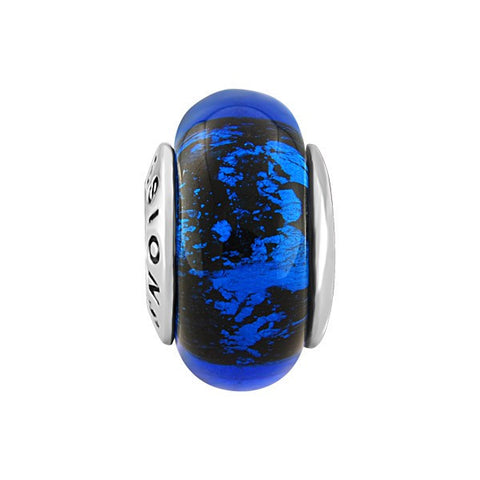 SILVER LIGHT & DARK BLUE SPLATTER GLASS BEAD BEA-YAF-0076